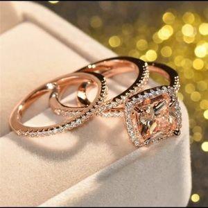 Luxury 3pcs/set Rose Gold Champagne Crystal Ring